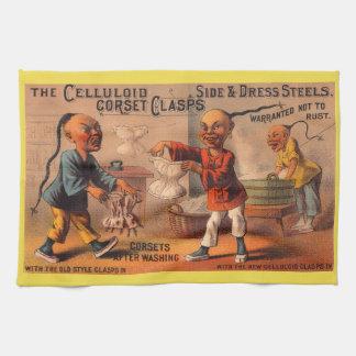 Victorian tradecard celluloid corset clasps tea towel