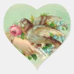 Victorian Valentine Bird and rose Heart Sticker
