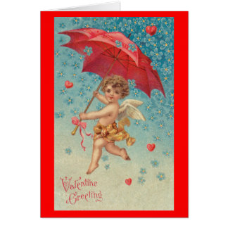 Victorian Valentine Cupid Hearts Umbrella Card