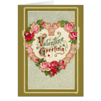 Victorian Valentine with Heart Shaped Wreath Greeting Card
