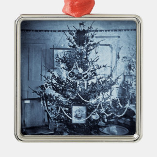 Victorian Vintage 1800s Stereoview Christmas Tree Silver-Colored Square Decoration