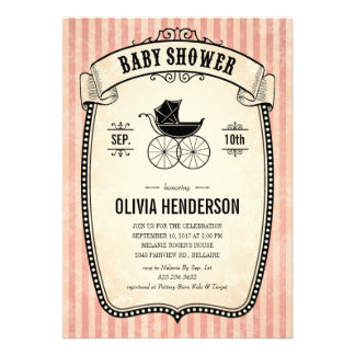Victorian Vintage Baby Shower Invitations for Girl