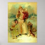 Victorian Vintage Christmas Santa Claus Kids Puppy Poster