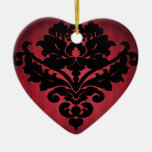 Victorian vintage damask gothic black and red ceramic heart decoration