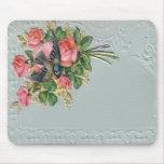 Victorian Vintage Floral, Lace, Blue Bird Mousepad