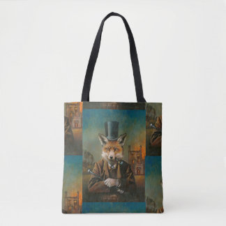 Victorian Vintage Fox All Over Print Tote Bag