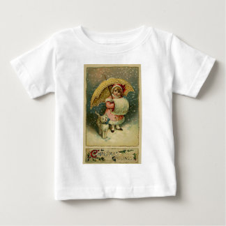 Victorian Vintage Retro Child and Cat Christmas Baby T-Shirt