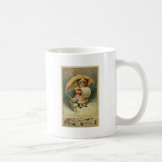 Victorian Vintage Retro Child and Cat Christmas Coffee Mug