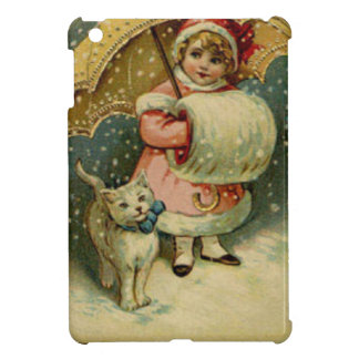 Victorian Vintage Retro Child and Cat Christmas iPad Mini Covers