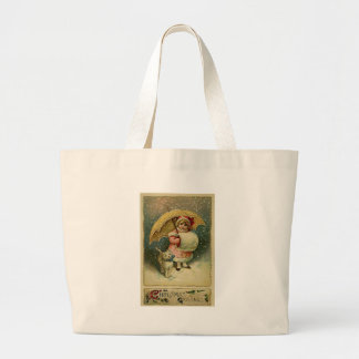 Victorian Vintage Retro Child and Cat Christmas Large Tote Bag