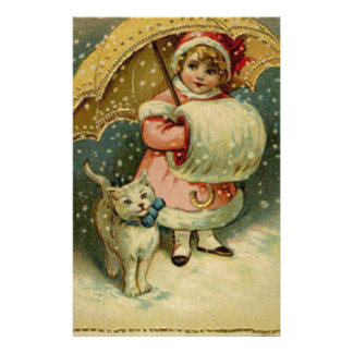 Victorian Vintage Retro Child and Cat Christmas Stationery