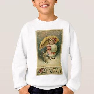 Victorian Vintage Retro Child and Cat Christmas Sweatshirt