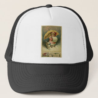 Victorian Vintage Retro Child and Cat Christmas Trucker Hat
