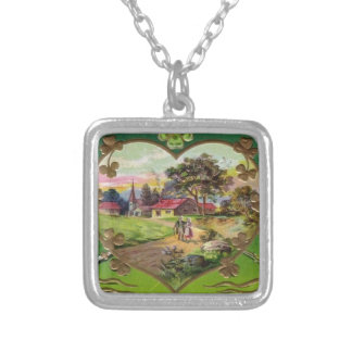Victorian Vintage Retro Irish St. Patrick's Day Silver Plated Necklace