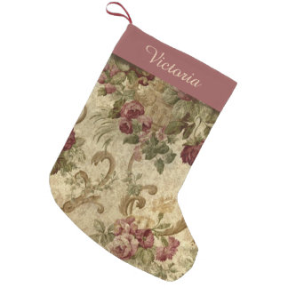 Victorian Vintage Wine Floral with Name Small Christmas Stocking