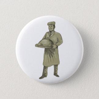 Victorian Waiter Serving Food Platter Drawing 6 Cm Round Badge