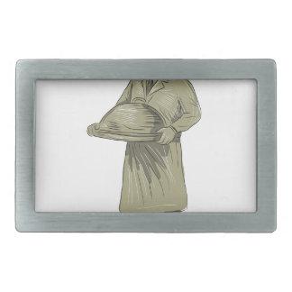 Victorian Waiter Serving Food Platter Drawing Belt Buckle