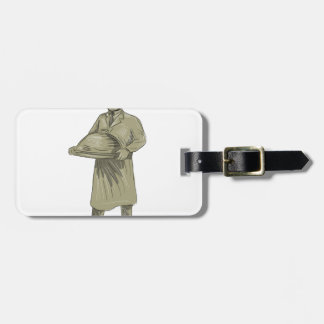 Victorian Waiter Serving Food Platter Drawing Luggage Tag