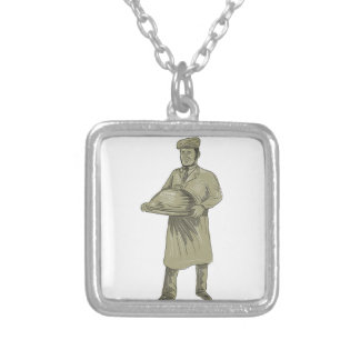 Victorian Waiter Serving Food Platter Drawing Silver Plated Necklace