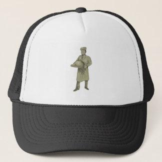 Victorian Waiter Serving Food Platter Drawing Trucker Hat