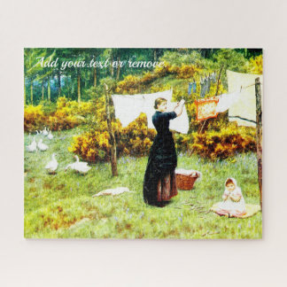 Victorian watercolor, mother hanging the washing, jigsaw puzzle