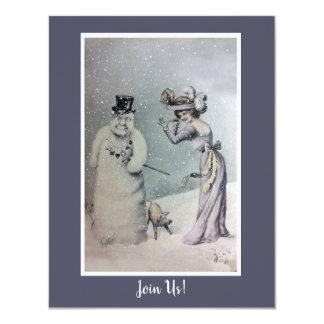 Victorian Woman & Anthropomorphic Snowman Card