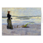 Victorian Woman Beside Water Greeting Card
