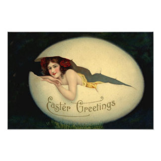 Victorian Woman Pin Up Easter Egg Grass Photograph