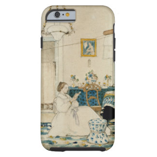 Victorian Woman Reading Book Watercolor Phone Case