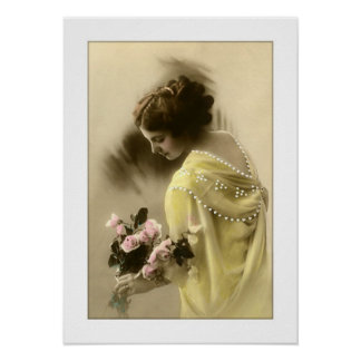 victorian woman roses romantic posters