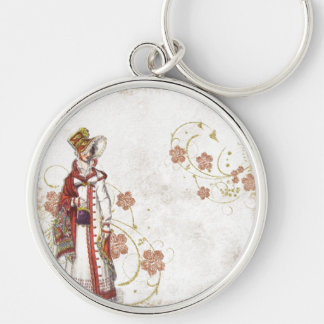 Victorian Woman Silver-Colored Round Key Ring
