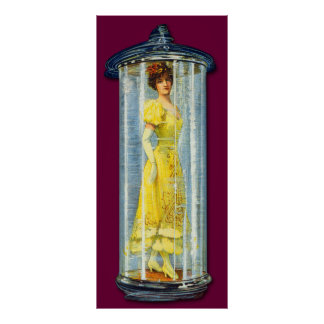 Victorian Woman Standing in a Glass Jar Poster
