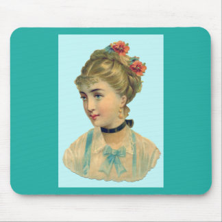 Victorian Woman Teal Mouse Pad