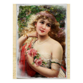 Victorian Woman with Pink Roses Postcard