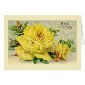 Victorian Yellow Rose Birthday Card