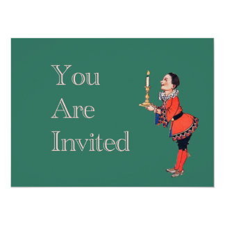 Victorian Young Boy Holding Candle 14 Cm X 19 Cm Invitation Card