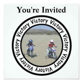 """Victory Frame Circle Add Your Photo 5.25"""" Square Invitation Card"""