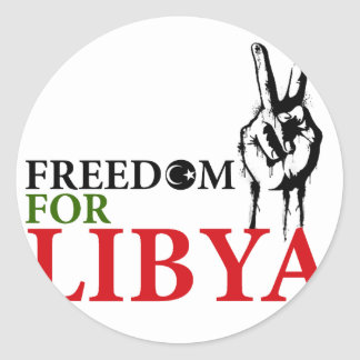 Victory & Freedom for Libya Classic Round Sticker