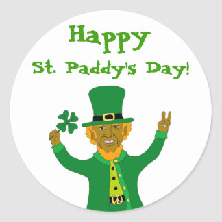 Victory Leprechaun, St. Paddy's Day!, Happy Round Sticker