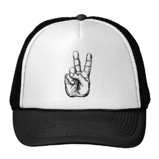 victory salute or peace sign hat