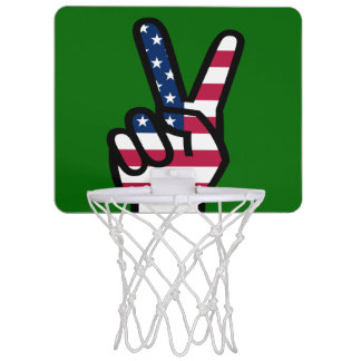 Victory Sign With American Flag Mini Basketball Hoops