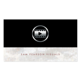 Video Editor Bold Silver Video Clip Icon Elegant Business Card Template