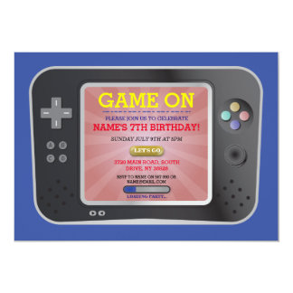 Video Game Birthday Party Gamer Boy Console Invite