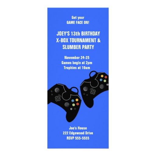 Video Game Controller Birthday Invitation 9 x 4