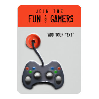 video game party 13 cm x 18 cm invitation card