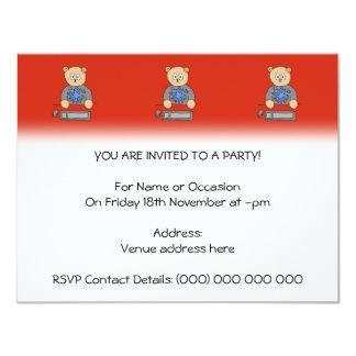Video Game Player Bear. 11 Cm X 14 Cm Invitation Card