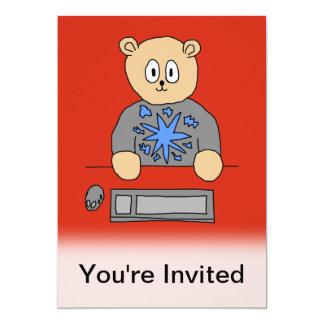 Video Game Player Bear. 13 Cm X 18 Cm Invitation Card