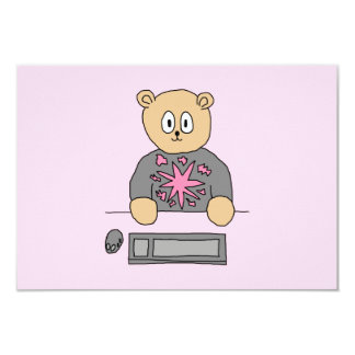 Video Game Player Bear. 9 Cm X 13 Cm Invitation Card