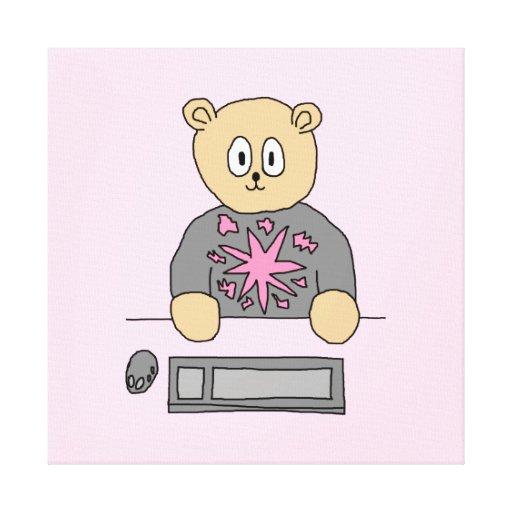 Video Game Player Bear. Canvas Print