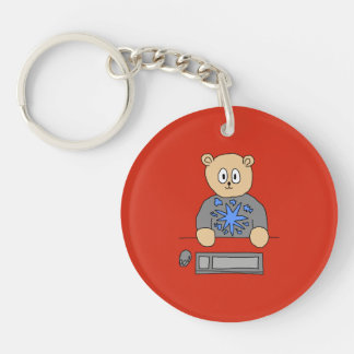 Video Game Player Bear. Double-Sided Round Acrylic Key Ring